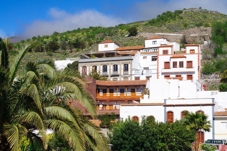 White painted houses with wooden balconies, Tejada, Gran Canaria