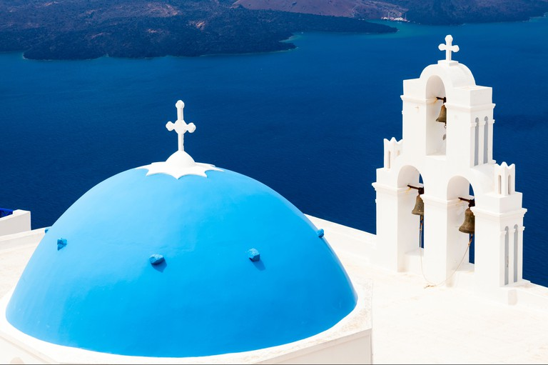 Blue Dome Church at Firostefani near Fira on Thira Island Santorini Greece