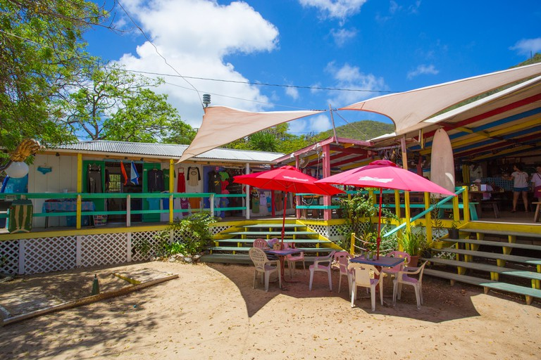 Skinny Legs bar and restaurant in Coral Bay on the Caribbean Island of St John in the US Virgin Islands
