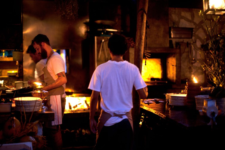 Tulum, Mexico restaurant The Hartwood, founded by two New Yorkers, is known for its live fire cooking and lack of electricity.. Image shot 2013. Exact date unknown.