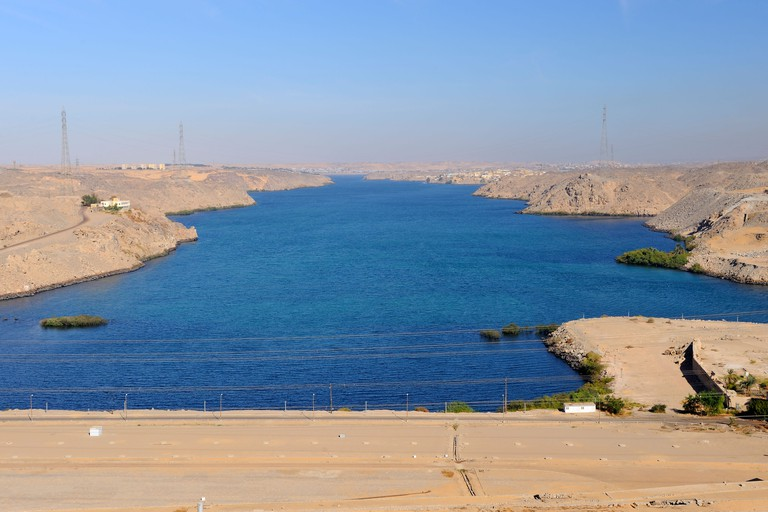 View from High Dam looking downstream towards Old Dam - Aswan, Upper Egypt