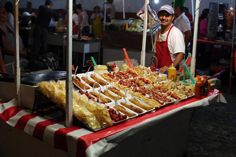 A street vendor selling food in Puerto Vallarta, Mexico.