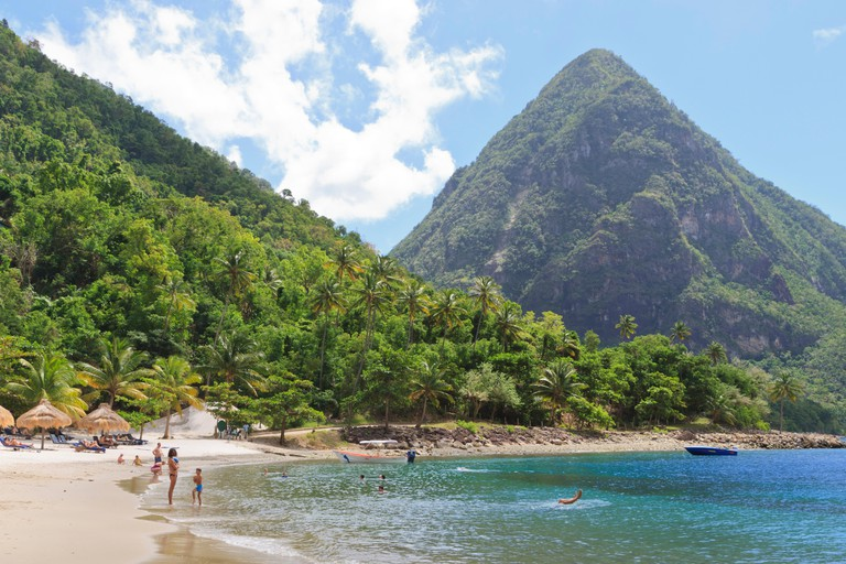 Swimming and sunbathing on Jalousie (Sugar) Beach, St. Lucia, Windward Islands, West Indies, Caribbean, Central America