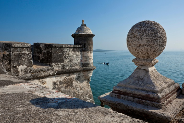 Colombia, Bolivar Department, Cartagena, listed as World Heritage by UNESCO, ramparts of San Fernando de Bocachica Fort, in