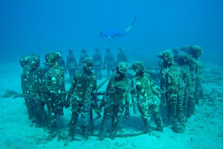 Underwater Sculpture Gallery off Molinere Point, Grenada, Caribbean. February 2010.