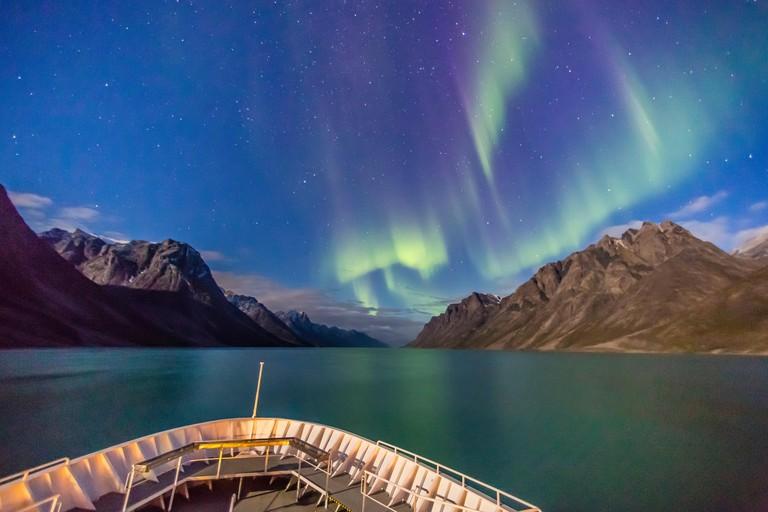 The aurora borealis in Kangerlussuaq Fjord