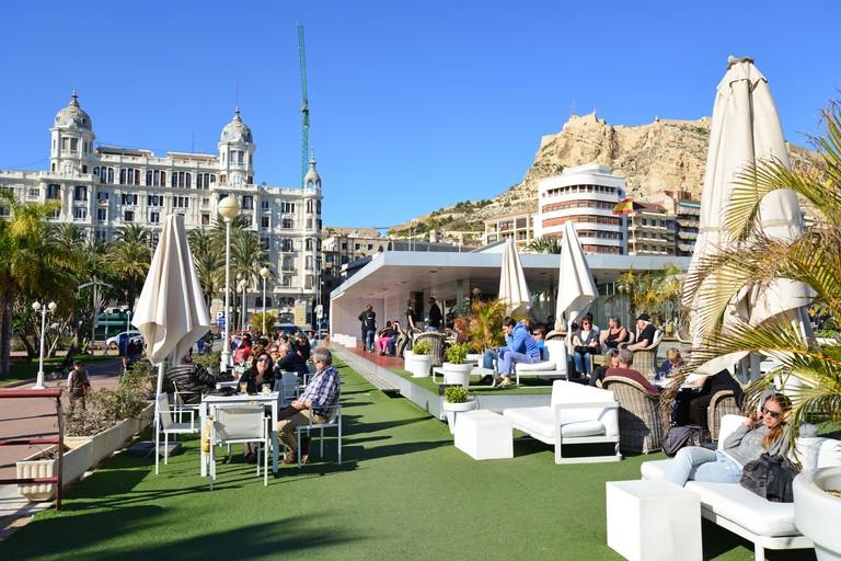 Terrace of Soho Mar bar & restaurant, Port of Alicante, Alicante, Costa Blanca, Alicante Province, Kingdom of Spain