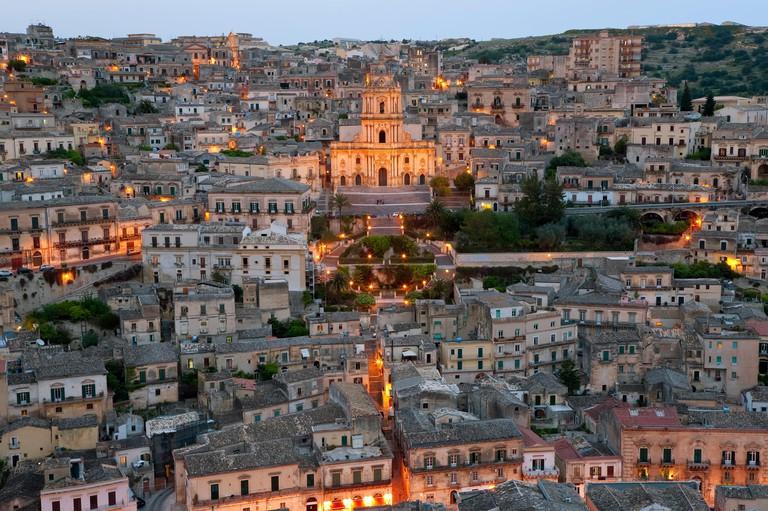 View over Modica & San Giorgio cathedral (Baroque style), Sicily, Italy