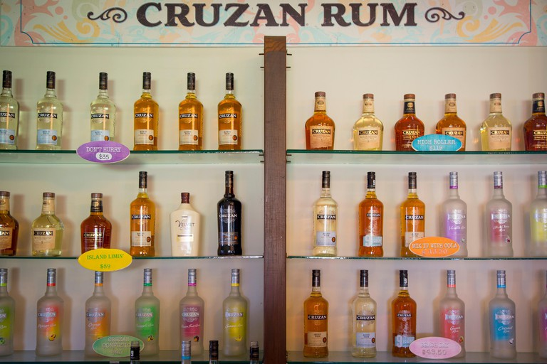 EDCP1B Shelves full of Cruzan Rum at the Cruzan Distillery - founded 1760, Christiansted, St Croix, US Virgin Islands, West Indies