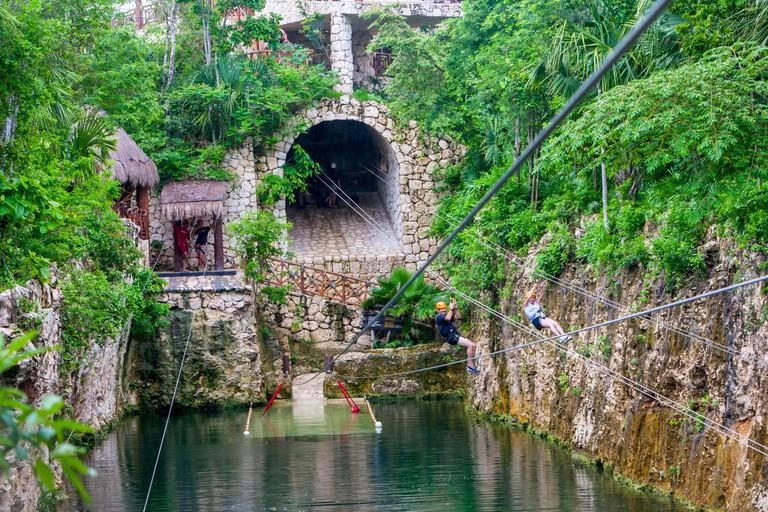 Zip-lining, Xplor,  Riviera Maya, Yucatan, Mexico.