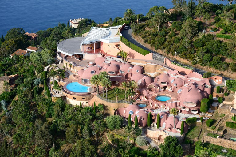 PALAIS BULLES (aerial view). Theoule-sur-Mer, Esterel Massif, Alpes-Maritimes, French Riviera, France.