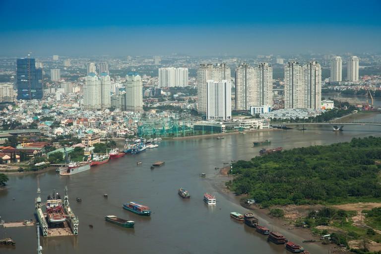 Aerial view of Saigon River with the city center, Ho Chi Minh City, Vietnam