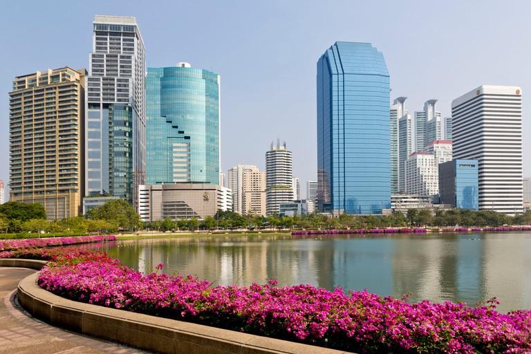 Highrises, Banjakitti Park, Bangkok, Thailand, Asia