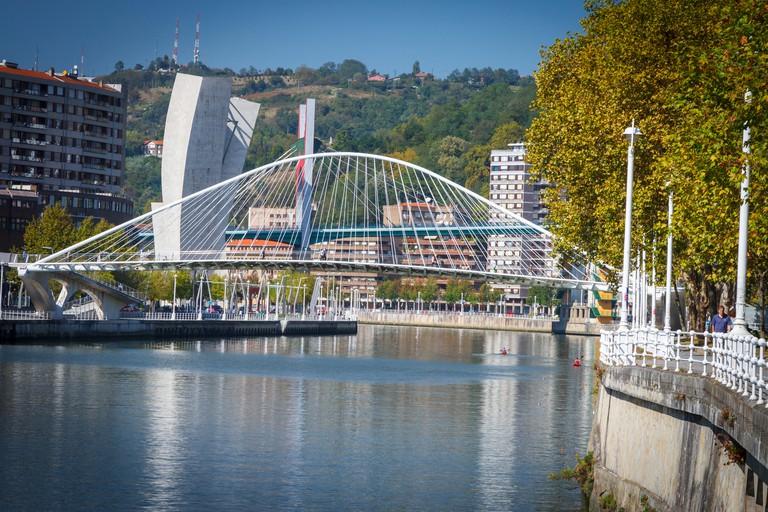 Nervion river and Zubizuri bridge. Bilbao. Biscay, Spain, Europe.