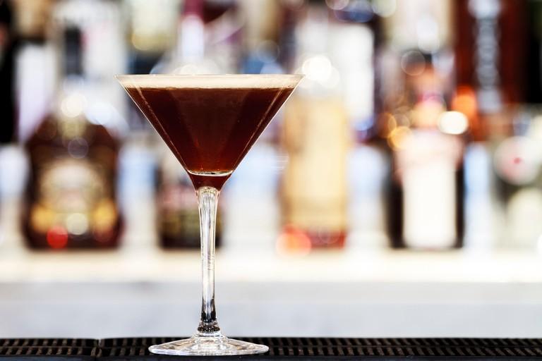 Espresso Martini Cocktail on a bar top