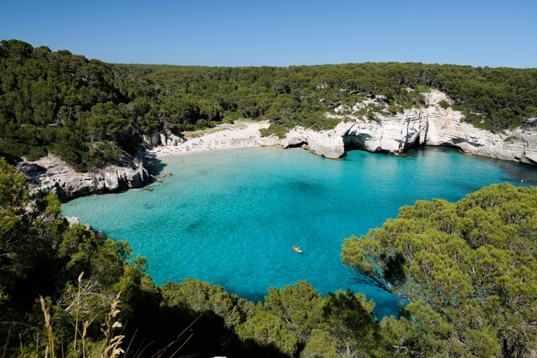 Cala Mitjana, near Cala Galdana, south west coast, Menorca, Balearic Islands, Spain, Mediterranean, Europe