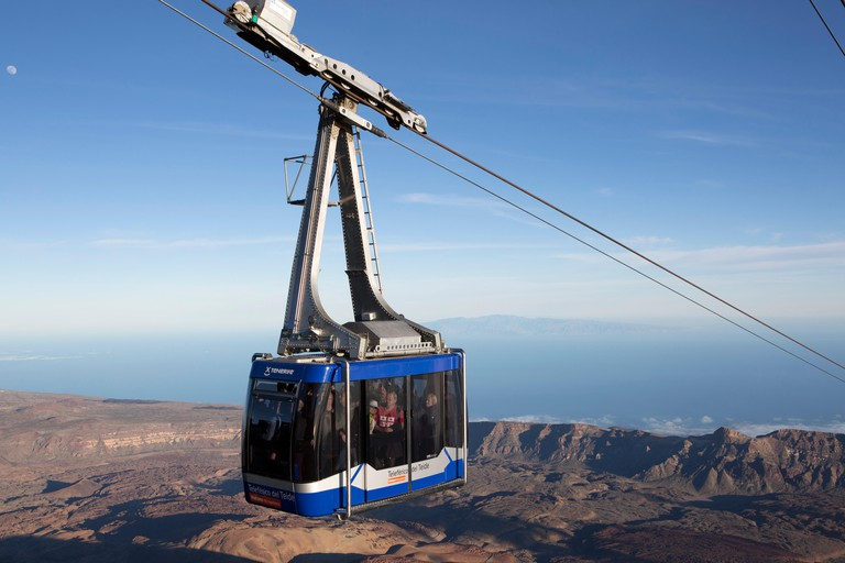 A cable car carries tourists up Mount Teide on Tenerife, Spain.