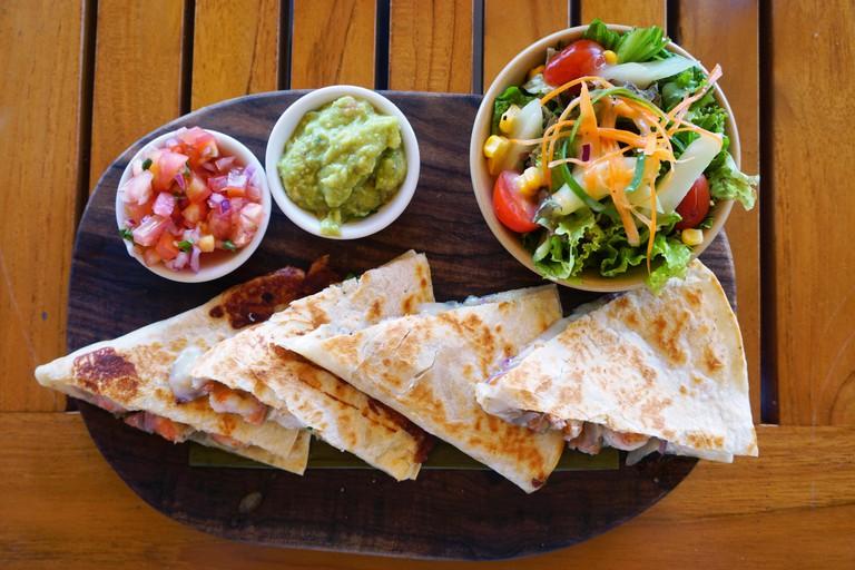 Shrimp quesadillas with guacamole and pico de gallo