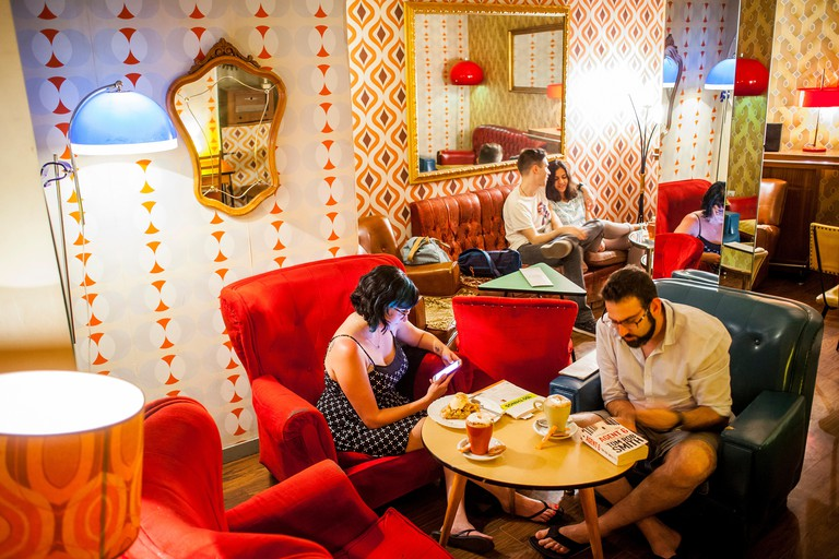 Lolina Vintage Cafe, in Calle del Espiritu Santo 9, in Malasana quarter. Madrid, Spain