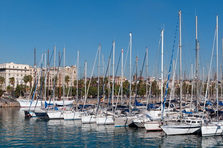 Barcelona, Spain - Oct 13 2011: Luxury yachts at  Marina Port Vell Barcelona , Spain.