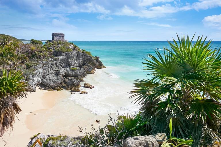 Ancient Maya Ruins, Caribbean Beach of Tulum, Mexico's Riviera, Mexico