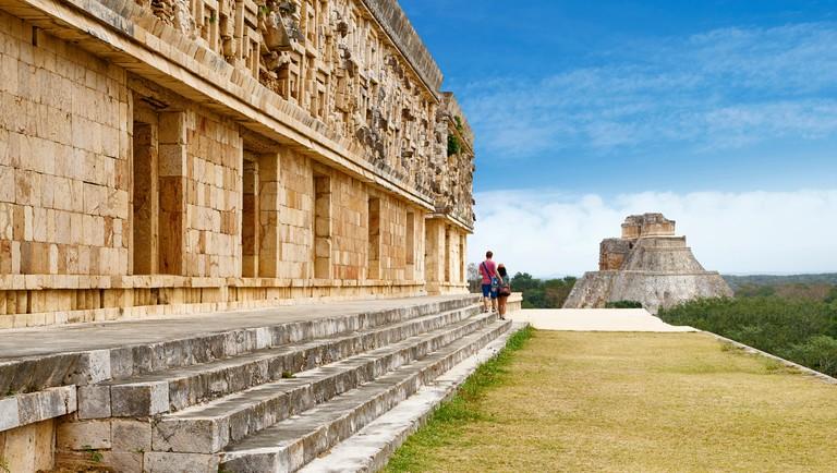Ancient Maya Ruins, Nunnery Quadrangle, Uxmal Archaeological Site, Yucatan,  Mexico