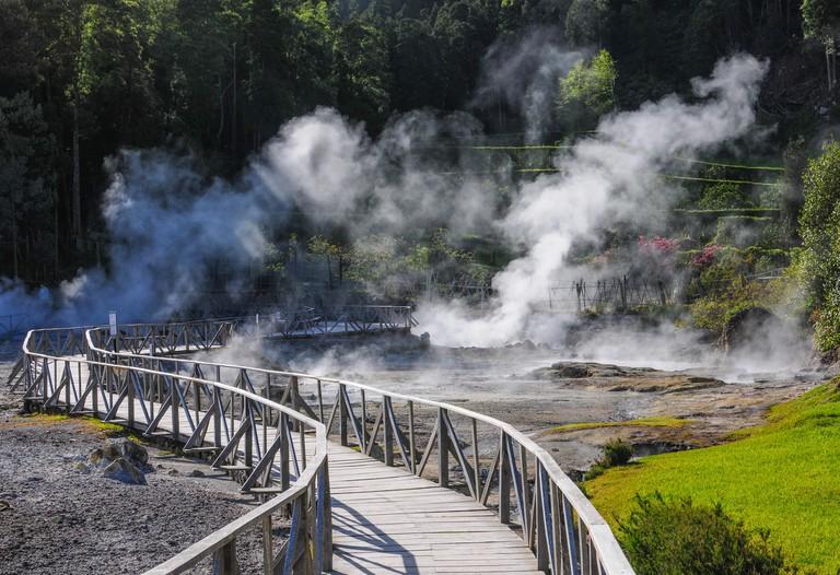 Hot springs Furnas Azores Portugal