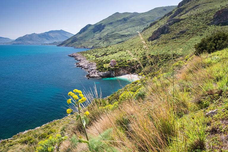 Italy, Sicily, Province of Trapani, Riserva naturale orientata dello Zingaro, Cala Tonnarella dell'Uzzo