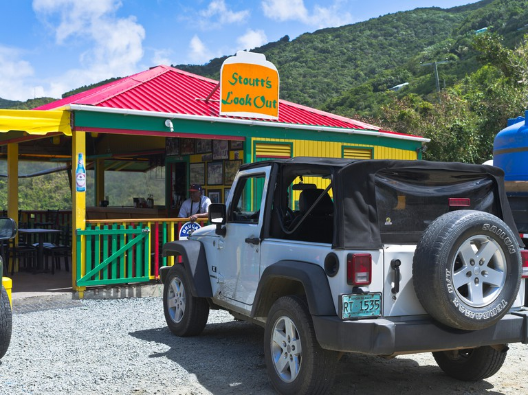 dh Stoutts Lookout TORTOLA CARIBBEAN Car hire jeep at cafe. Image shot 2016. Exact date unknown.