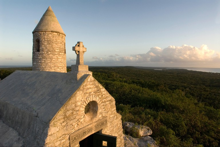 The Ermite small monastery at the top of Mount Alvernia on Cat island, over 63 meters, Bahamas. Mt. Alvernia Hermitage and Father Jerome's tomb atop Como Hill.