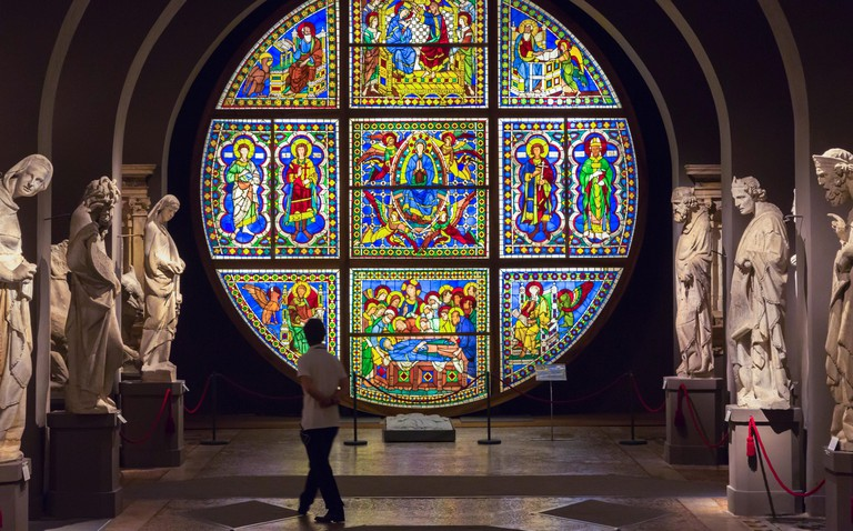 Siena, Siena Province, Tuscany, Italy.  Il Museo dell'Opera del Duomo. Cathedral Museum. Stained glass window.