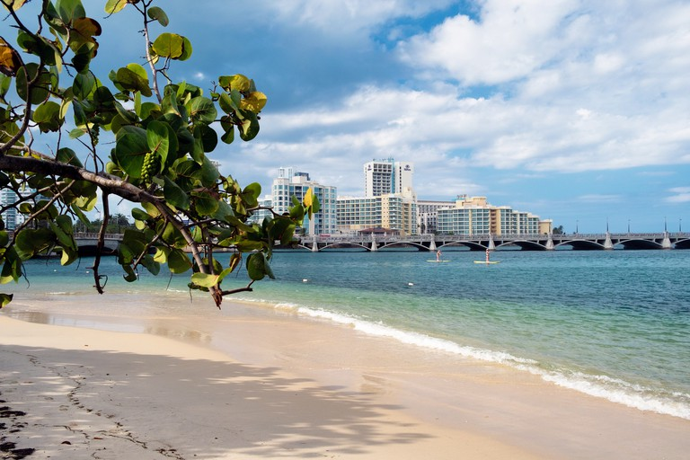 View of the Condado Lagoon with a Beach and Hotels, San Juan, Puerto Rico