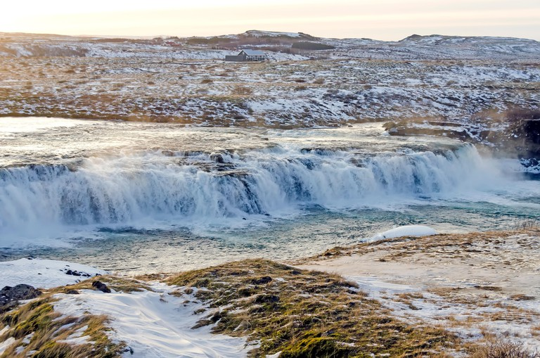 Faxi Waterfall in winter (January) on the Iceland Golden Circle Tour.
