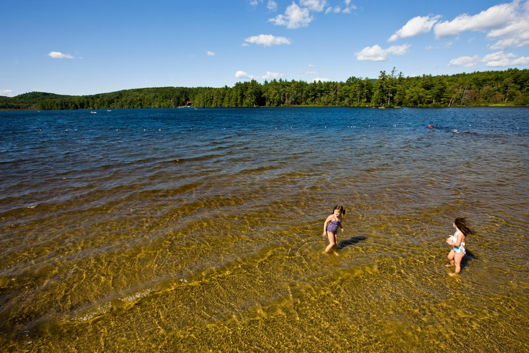 Kids swim in Otter Lake in Greenfield State Park in Greenfield, New Hampshire.