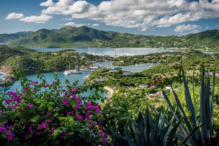 English Harbour (harbor) and Nelson's Dockyard viewed from Shirley Heights, Antigua