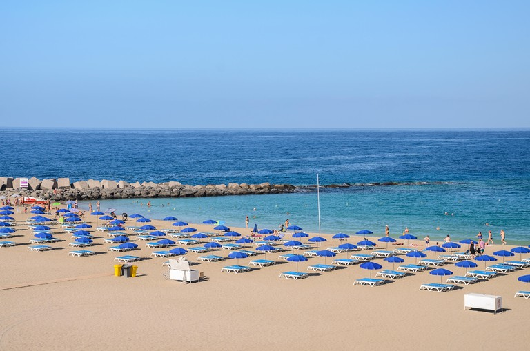 Beautiful sandy De Las Vistas beach on Tenerife, Spain