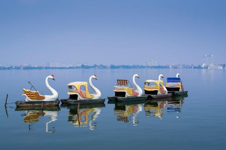 Vietnam, Hanoi, Tay Ho, West Lake, swan boats