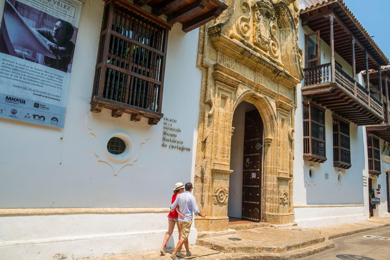 HWAB56 Colombia, Bolivar department, Cartagena, historical center listed as World Heritage, the Centro district, the Palace of the Inquisition (museum) built