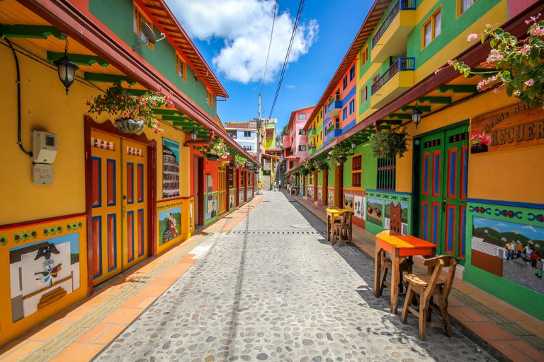GUATAPE, COLOMBIA: COULD this rainbow-painted town be the most colourful place in the world? Stunning video and pictures have revealed the spectacular town where everything from the buildings to the steps are painted in bright, vibrant colours. The incred