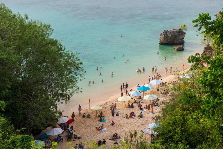 View over Uluwatu beach, Uluwatu, Bali, Indonesia, Southeast Asia, Asia