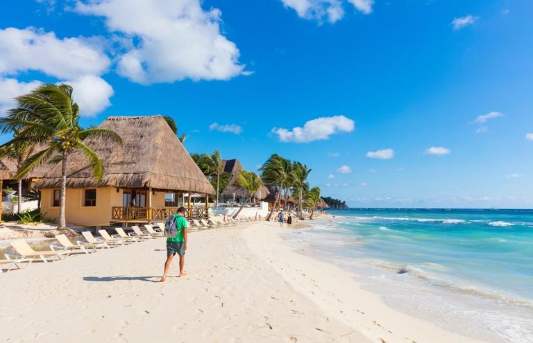 White sand beach in Playa del Carmen, Riviera Maya, Mexico