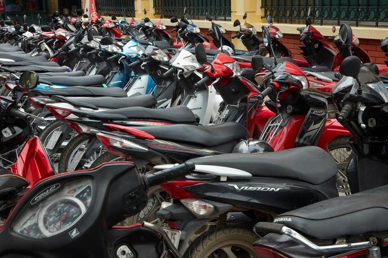 Row of parked motorcycles, Hanoi, Vietnam
