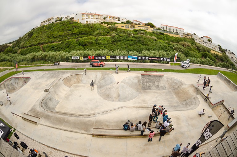 ERICEIRA, PORTUGAL - MAY 10 2014: Ericeira boardriders park during the DC King of the Park.