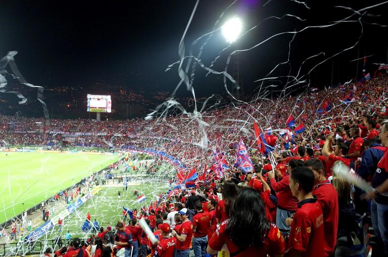Medellin fans in the Atanasio Girardot stadium, Colombia