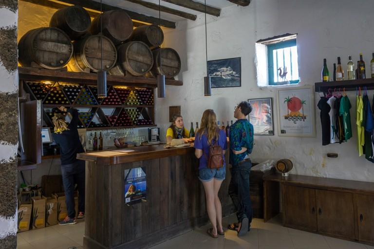Wine tasting at Bodega EL Grifo, vineyard at La Geria, Lanzarote island, Canary islands, Spain, Europe