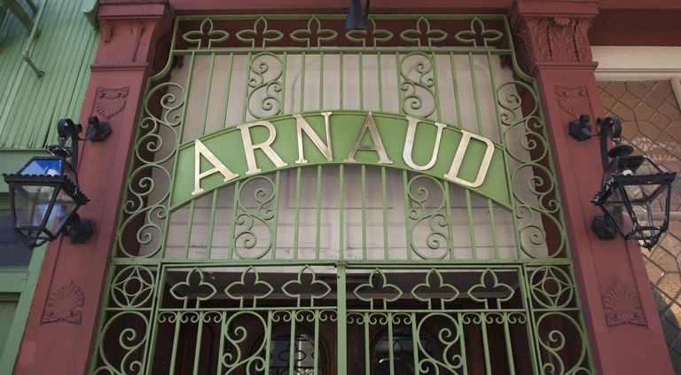 USA, Louisiana, New Orleans, French Quarter, Arnaud's French Restaurant, sign
