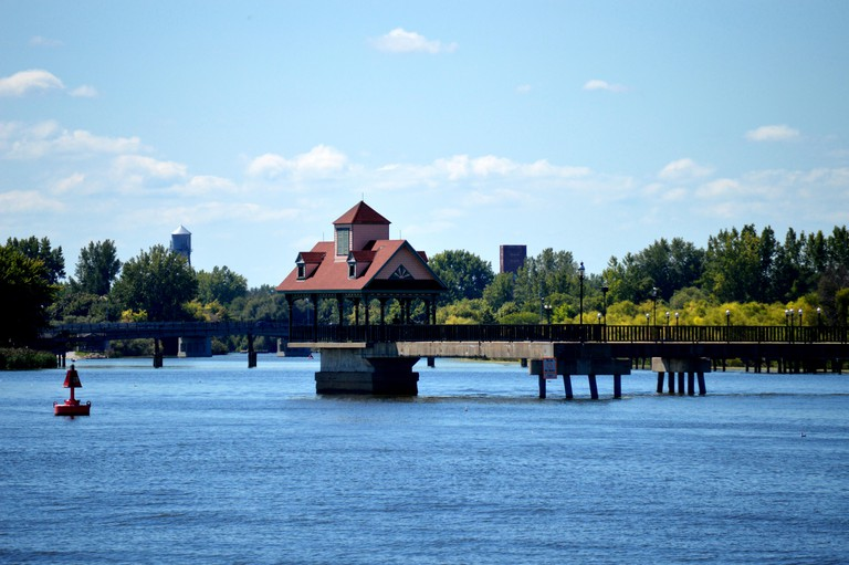River walk out into the Saginaw River in Bay City, Michigan