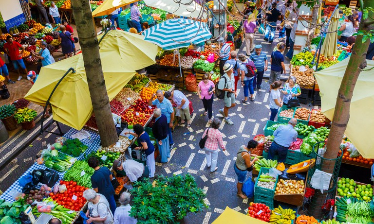 Fruits and vegetables stall.