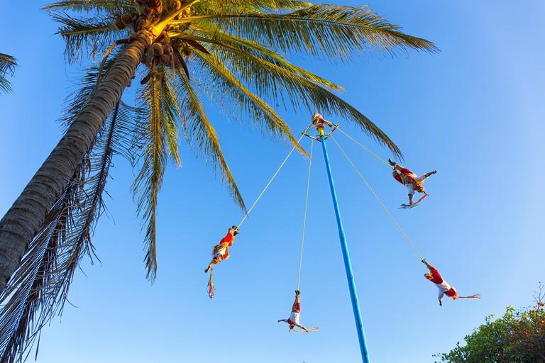 Papantla flyers (Voladores de Papantla), Playa del Carmen, Riviera Maya, Quintana Roo, Mexico