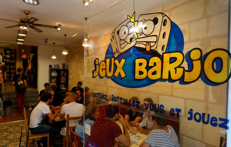 France, Gironde, Bordeaux, area listed as World Heritage by UNESCO, game bar Jeux Barjo